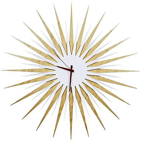 "Maple White and Red Atomic Starburst 23"" Round Wall Clock"