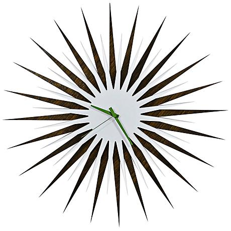 "Walnut White and Green Atomic Starburst 23"" Round Wall Clock"