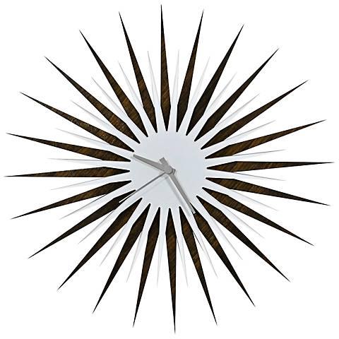 """Walnut White and Gray Atomic Starburst 23"""" Round Wall Clock"""