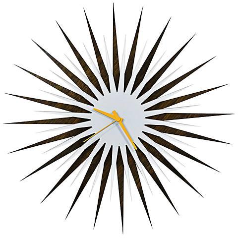 "Walnut White-Orange Atomic Starburst 23"" Round Wall Clock"
