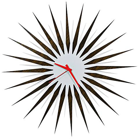 "Walnut White and Red Atomic Starburst 23"" Round Wall Clock"