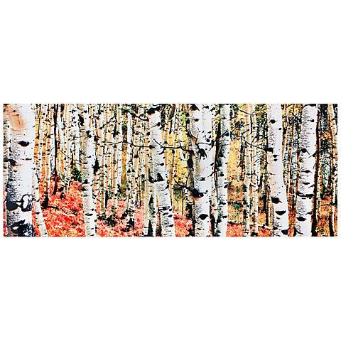 """Aspen Grove Autumn Fall 48"""" Wide Metal Wall Art"""