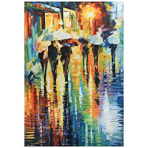 Rainy Etude Umbrella Cityscape 32 Quot Wide Metal Wall Art