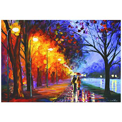 "Alley by The Lake City Park Sunset 32"" High Metal Wall Art"