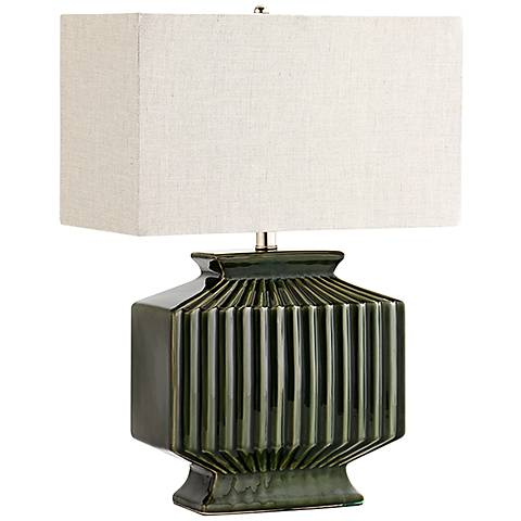 Hamilton Green Ceramic Large Ribbed Table Lamp