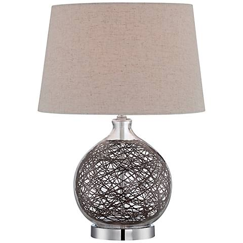 Lite Source Claral Rattan Clear Glass Table Lamp