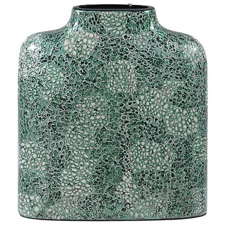"Crestview Short Green Lacquer 13"" High Ceramic Vase"