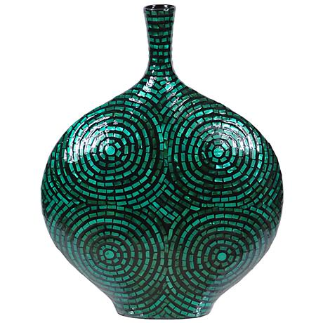 """Crestview Large Green Mother of Pearl 19 1/4"""" High Vase"""