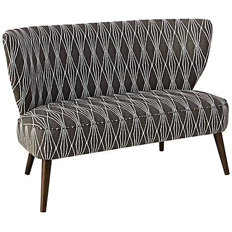 Lewis Hand-Cut Shapes Charcoal Settee