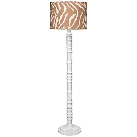 Jamie Young Longshan Natural Zebra White Metal Floor Lamp