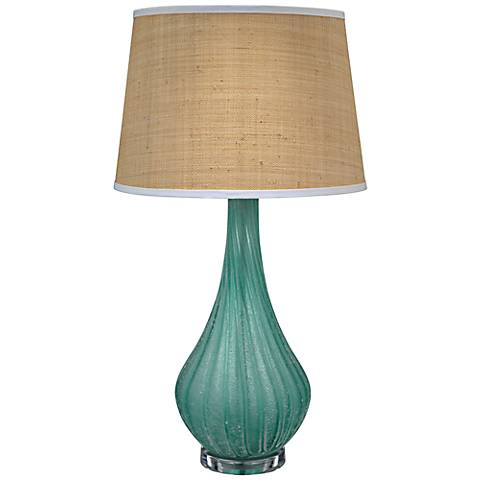 Jamie Young Scavo Frosted Aqua Blue Glass Table Lamp