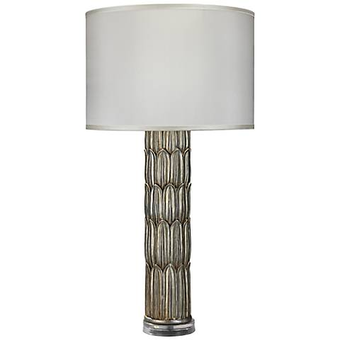 Jamie Young Silver Carved Column Table Lamp