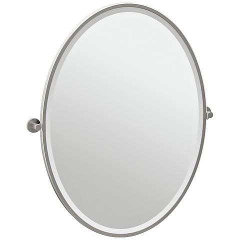 "Gatco Channel Satin Nickel 28 1/4"" x 33"" Oval Wall Mirror"