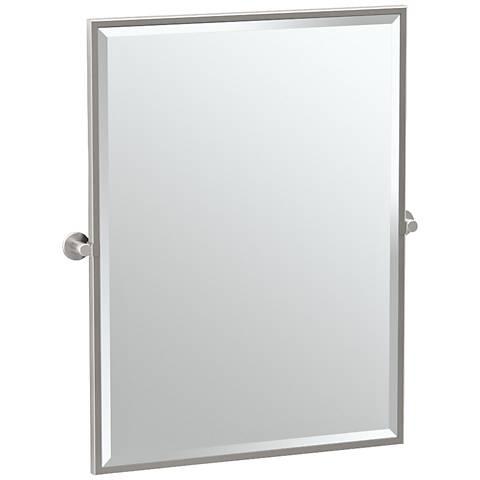 "Gatco Channel Satin Nickel 27 3/4"" x 32 1/2"" Wall Mirror"
