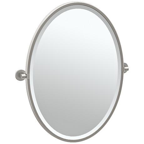 """Gatco Zone Satin Nickel 24"""" x 27 1/2"""" Oval Wall Mirror"""