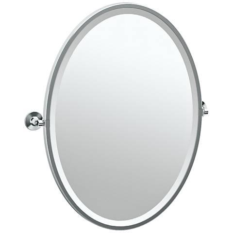 "Gatco Max Chrome 24"" x 27 1/2"" Oval Wall Mirror"
