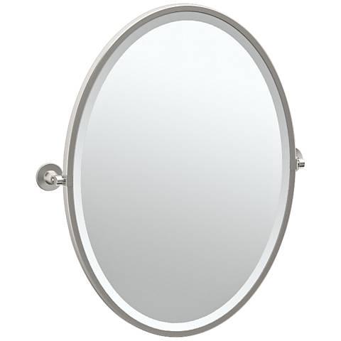 "Gatco Max Satin Nickel 24"" x 27 1/2"" Oval Wall Mirror"