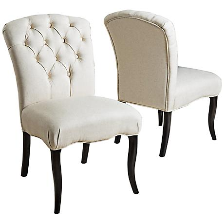Hayden Tufted Linen Dining Chair Set of 2