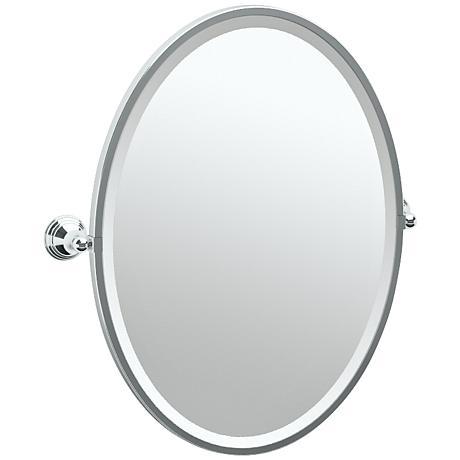 "Gatco Charlotte Chrome 24 1/2"" x 27 1/2"" Oval Wall Mirror"