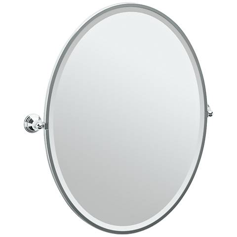 "Gatco Charlotte Chrome 29"" x 33"" Large Oval Wall Mirror"