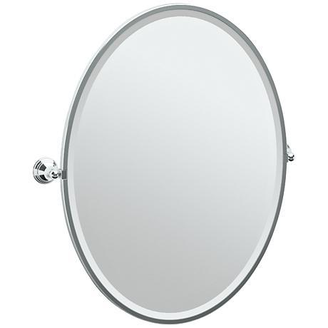 "Gatco Charlotte Chrome 29"" x 33"" Large Oval Wall Mirror"