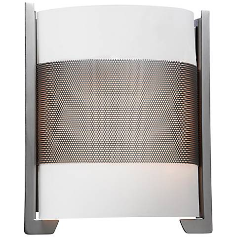 """Iron Brushed Steel 11 3/4""""High Opal Glass Wall Sconce"""