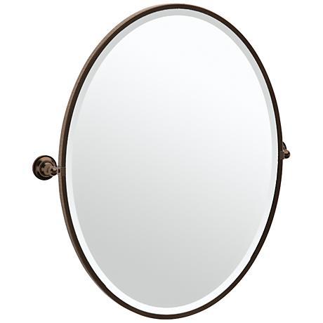 """Gatco Tiara Bronze 28 3/4"""" x 33"""" Large Oval Wall Mirror"""