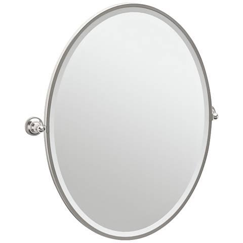 """Gatco Tiara Satin Nickel 28 3/4"""" x 33"""" Oval Wall Mirror"""