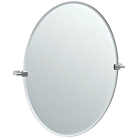 "Gatco Bleu Satin Nickel 28 1/4"" x 32"" Oval Wall Mirror"