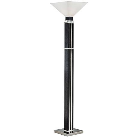Nova Attitude Zebra Wood Torchiere Floor Lamp