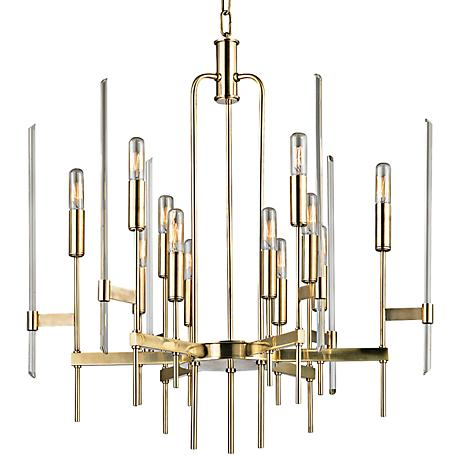 "Hudson Valley Bari 24"" Wide Aged Brass Chandelier"