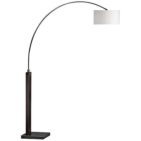 Nova Runyon Pecan and Black Nickel Arc Floor Lamp