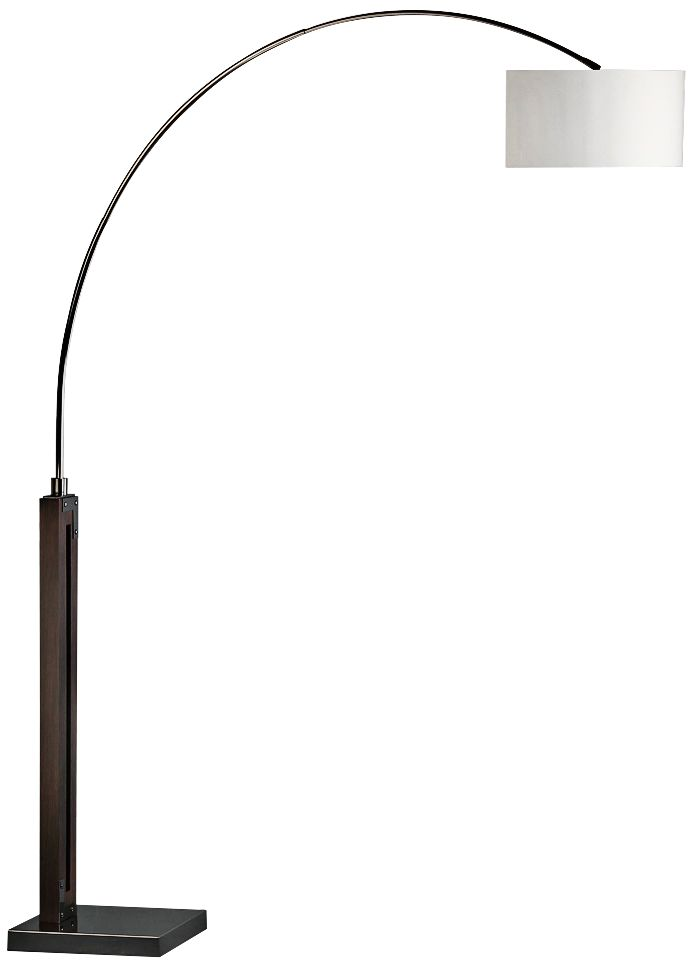 nova runyon pecan and black nickel arc floor lamp