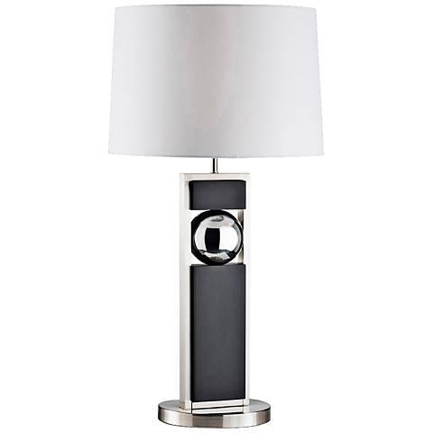 Nova Frame Brushed Nickel and Dark Brown Table Lamp