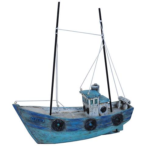"Crestview Collection 13"" Decorative Harbor Boat Sculpture"