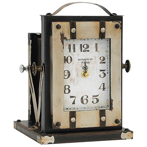 "Crestview Collection Time Flash 10"" High Metal Table Clock"