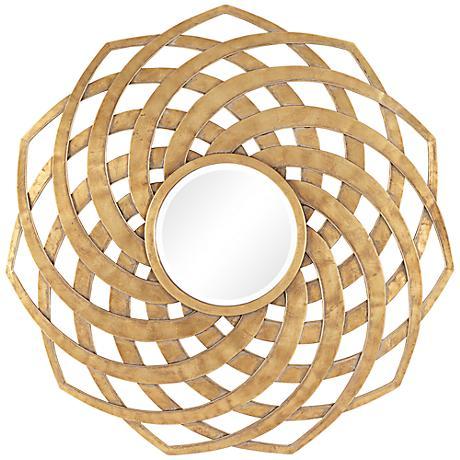 """Uttermost Adlee Antique Gold 33 1/4"""" Round Metal Wall Mirror"""