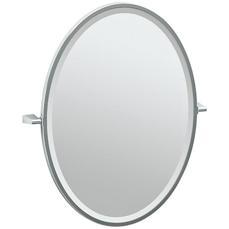 "Gatco Bleu Chrome 23 1/2"" x 27 1/2"" Framed Vanity Mirror"