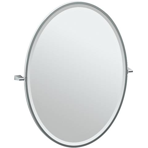 "Gatco Bleu Chrome 28"" x 33"" Framed Large Oval Vanity Mirror"