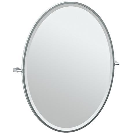 "Gatco Bleu Chrome 28"" x 33"" Framed Large Oval Vanity Mirror"