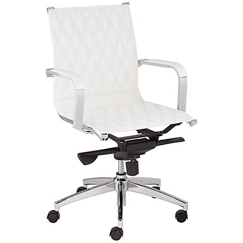 Chanel White Faux Leather Mid Back Office Chair