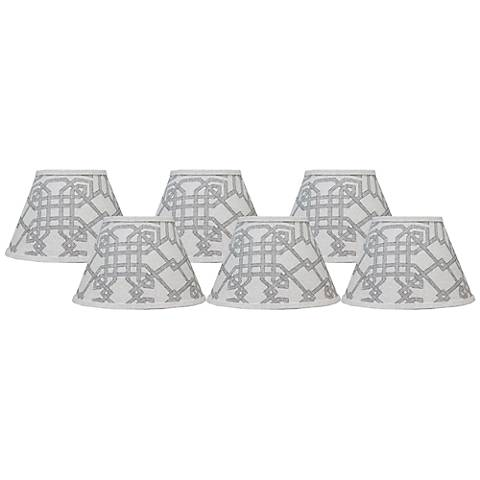 Arbor Stone Set of 6 Gray Lamp Shades 4x6x5.25 (Clip-On)
