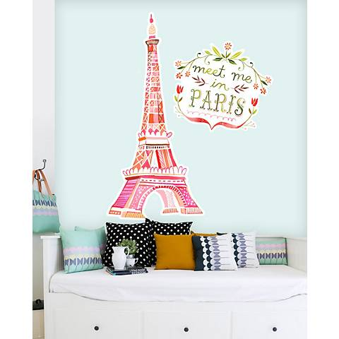 Meet Me In Paris Fabric Wall Decal Set