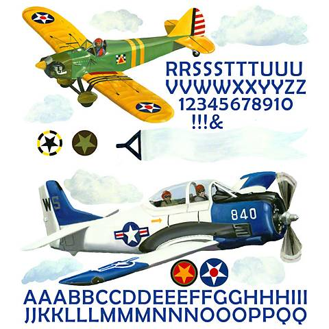 Airplanes Fabric Wall Decal Set