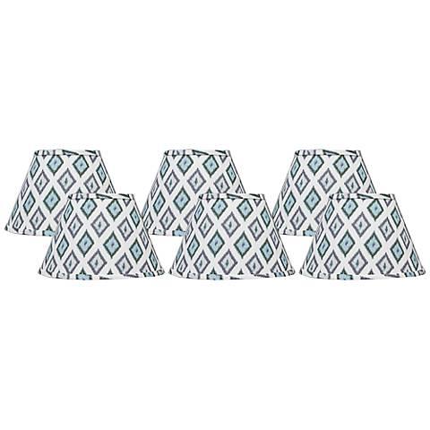 Aqua Gray Diamonte Set of 6 Empire Shades 4x6x5.25 (Clip-On)