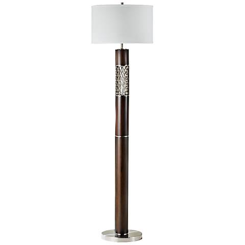 Nova Curls Walnut Modern Floor Lamp