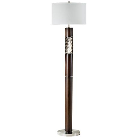 Nova Curls Walnut Modern Floor Lamp