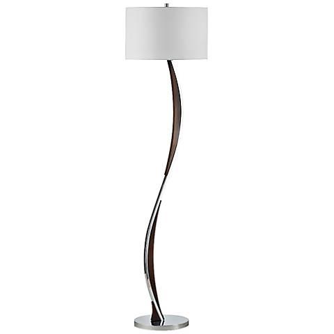 Nova Serpentine Chrome and Pecan Floor Lamp