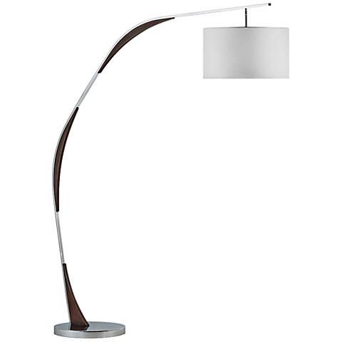 Nova Serpentine Chrome and Pecan Arc Floor Lamp