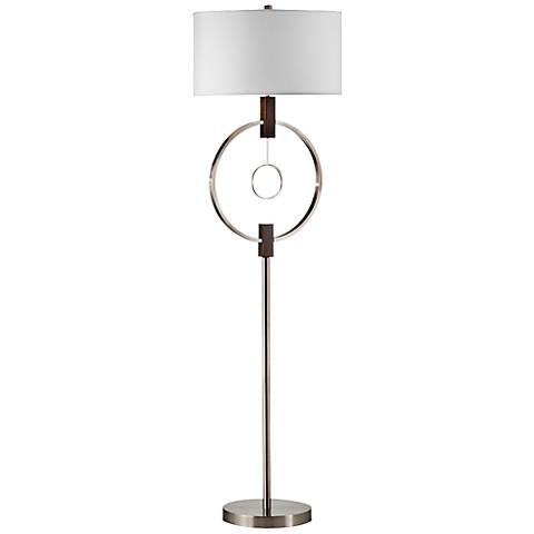 Nova Centered Brushed Nickel Modern Floor Lamp